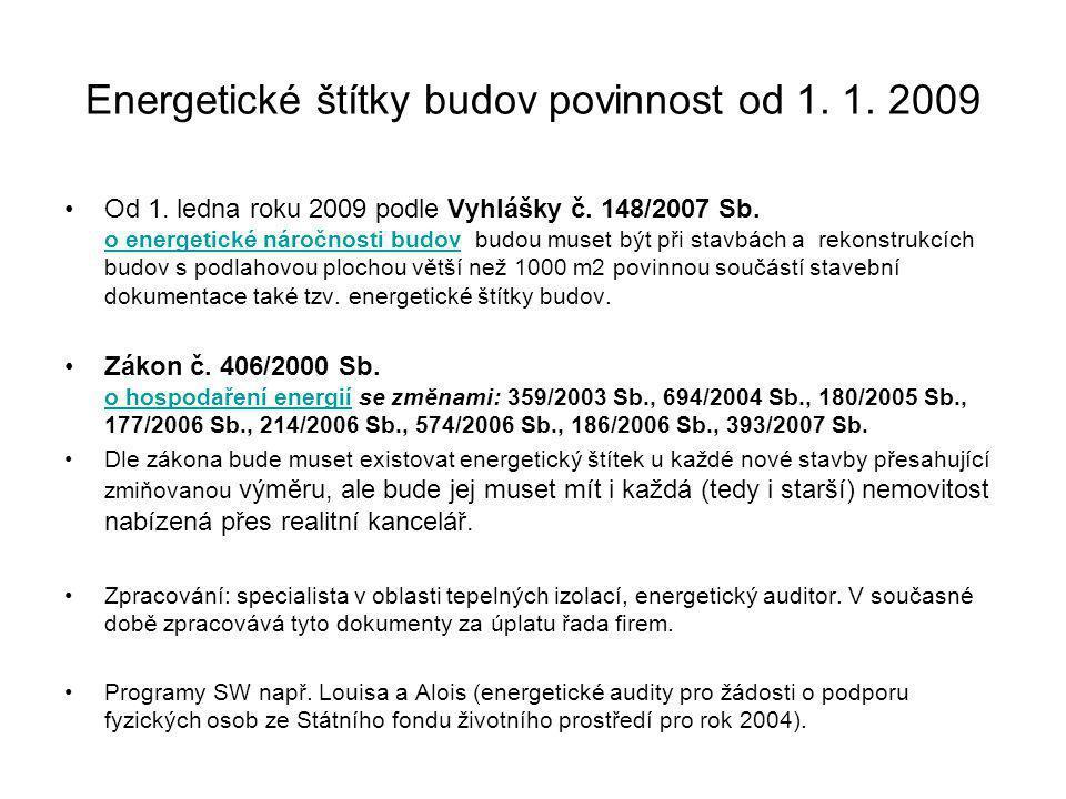 Energetické štítky budov povinnost od 1. 1. 2009 Od 1. ledna roku 2009 podle Vyhlášky č. 148/2007 Sb. o energetické náročnosti budov budou muset být p