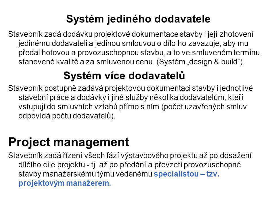 Systém jediného dodavatele Stavebník zadá dodávku projektové dokumentace stavby i její zhotovení jedinému dodavateli a jedinou smlouvou o dílo ho zava