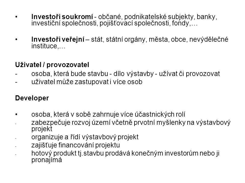 Investoři soukromí - občané, podnikatelské subjekty, banky, investiční společnosti, pojišťovací společnosti, fondy,… Investoři veřejní – stát, státní