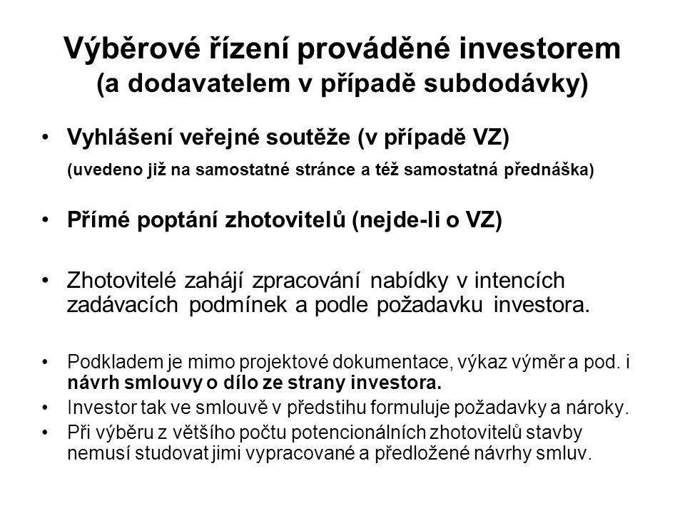 Výběrové řízení prováděné investorem (a dodavatelem v případě subdodávky) Vyhlášení veřejné soutěže (v případě VZ) (uvedeno již na samostatné stránce