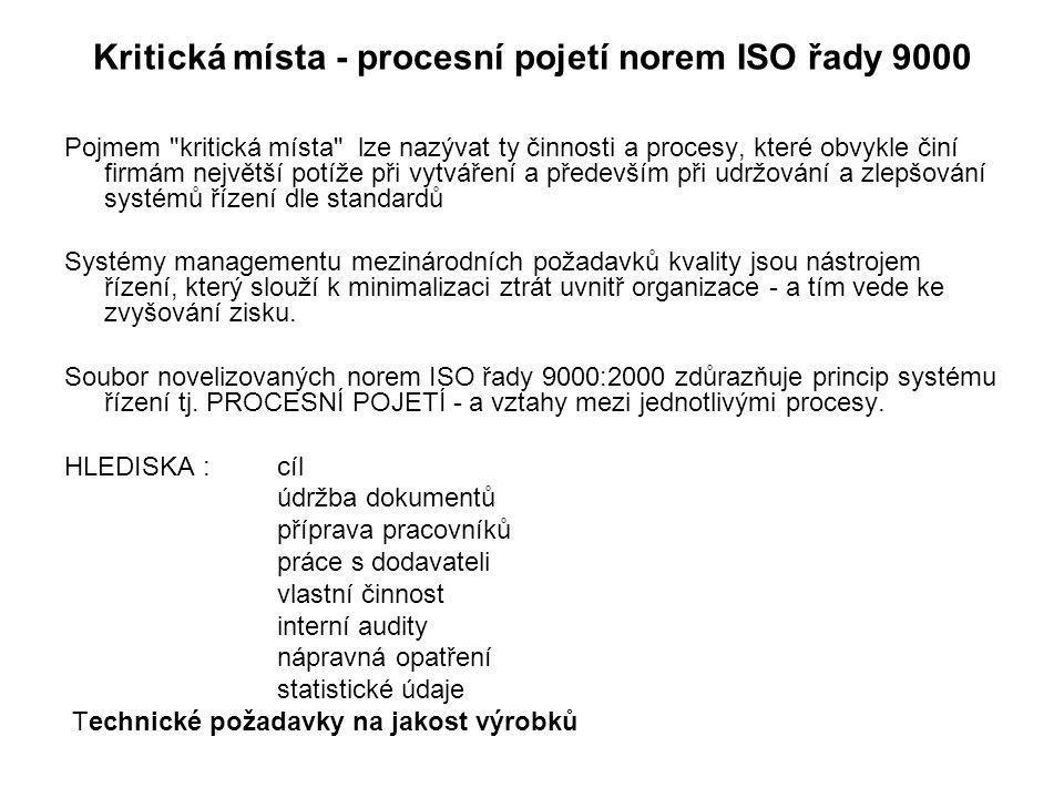 Kritická místa - procesní pojetí norem ISO řady 9000 Pojmem