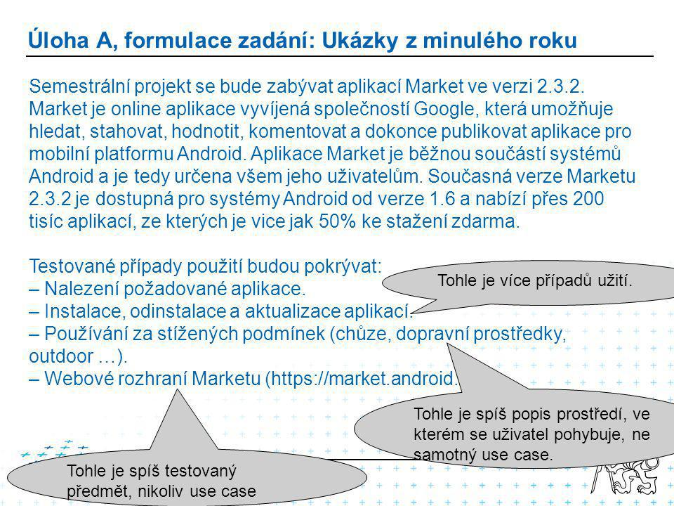 Úloha A, formulace zadání: Ukázky z minulého roku Semestrální projekt se bude zabývat aplikací Market ve verzi 2.3.2.