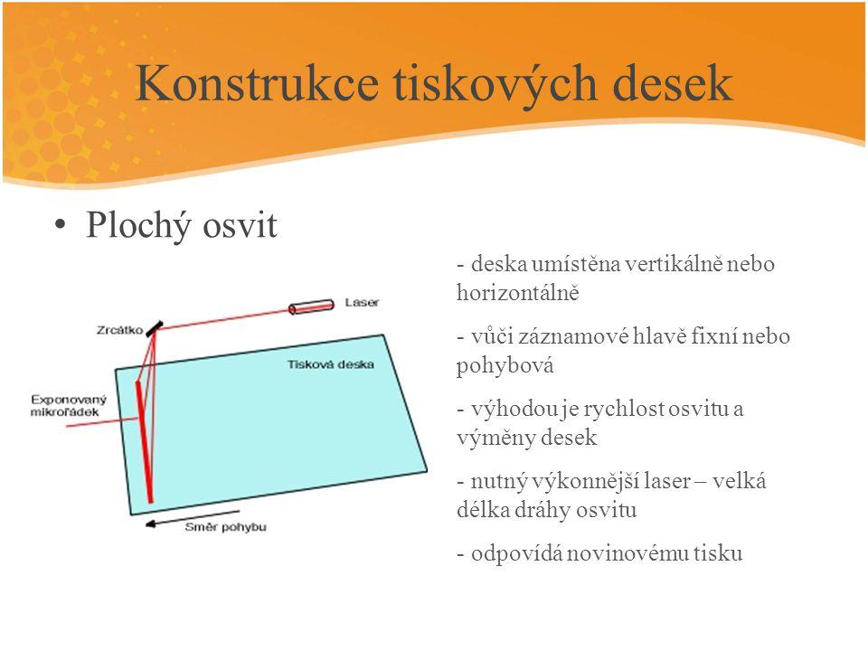 Konstrukce tiskových desek Osvit ve vnitřním válci - deska umístěna na vnitřním povrchu záznamového válce - osvit pouze jedním laserovým paprskem, který je přenášen zrcadlem - rychlost osvitu vyšší než na vnějším osvitu povrchu válce - použit jeden optický systém, dráha paprsku opět poměrně dlouhá