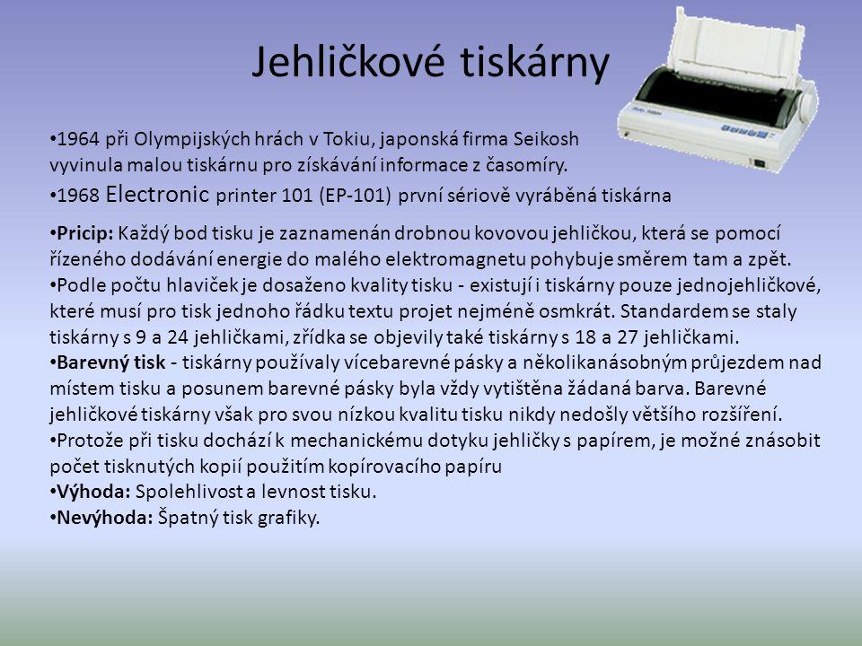 Jehličkové tiskárny 1964 při Olympijských hrách v Tokiu, japonská firma Seikosh vyvinula malou tiskárnu pro získávání informace z časomíry.