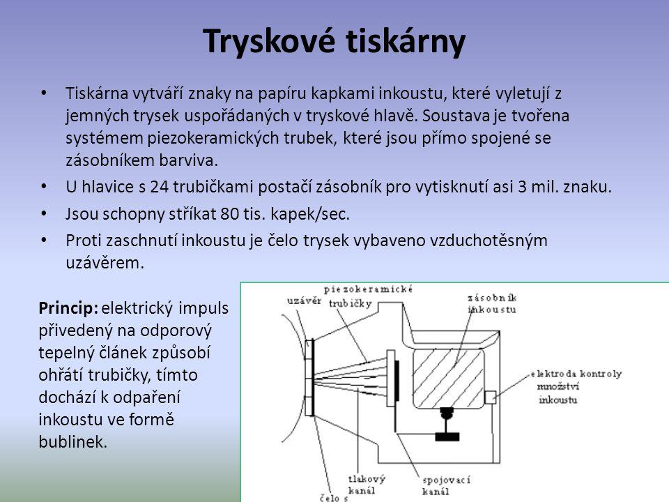 Tryskové tiskárny Tiskárna vytváří znaky na papíru kapkami inkoustu, které vyletují z jemných trysek uspořádaných v tryskové hlavě.