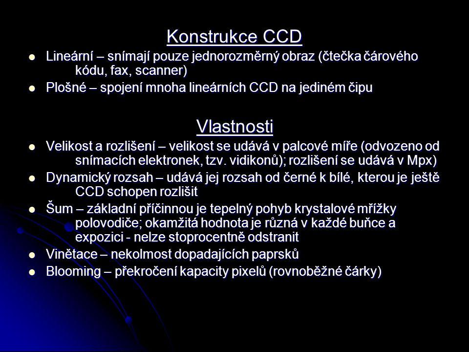 Konstrukce CCD Lineární – snímají pouze jednorozměrný obraz (čtečka čárového kódu, fax, scanner) Lineární – snímají pouze jednorozměrný obraz (čtečka