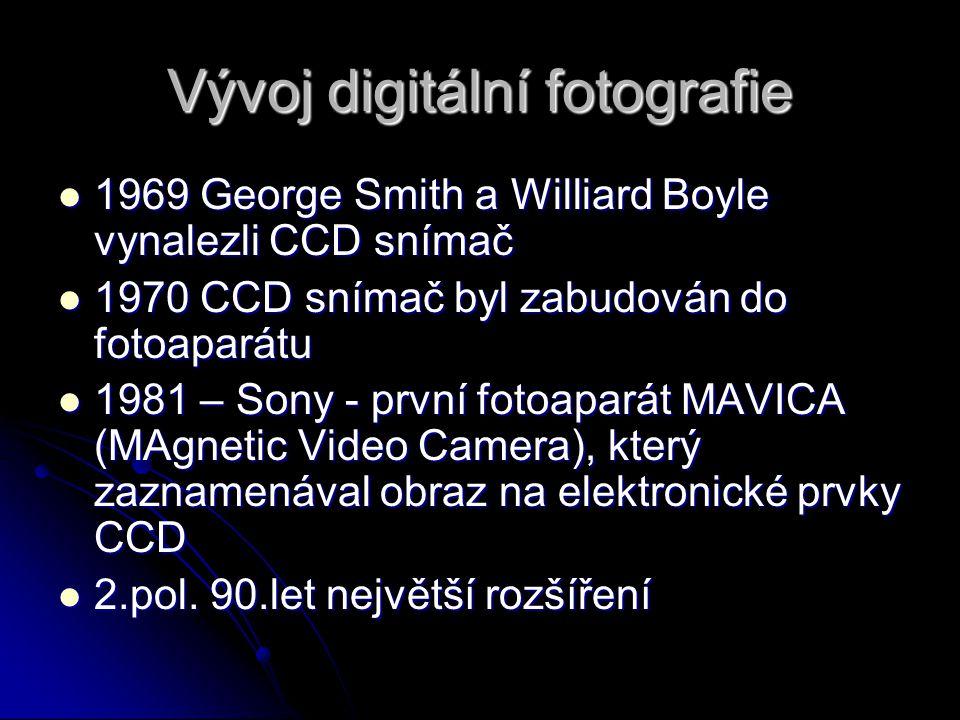 Vývoj digitální fotografie 1969 George Smith a Williard Boyle vynalezli CCD snímač 1969 George Smith a Williard Boyle vynalezli CCD snímač 1970 CCD sn