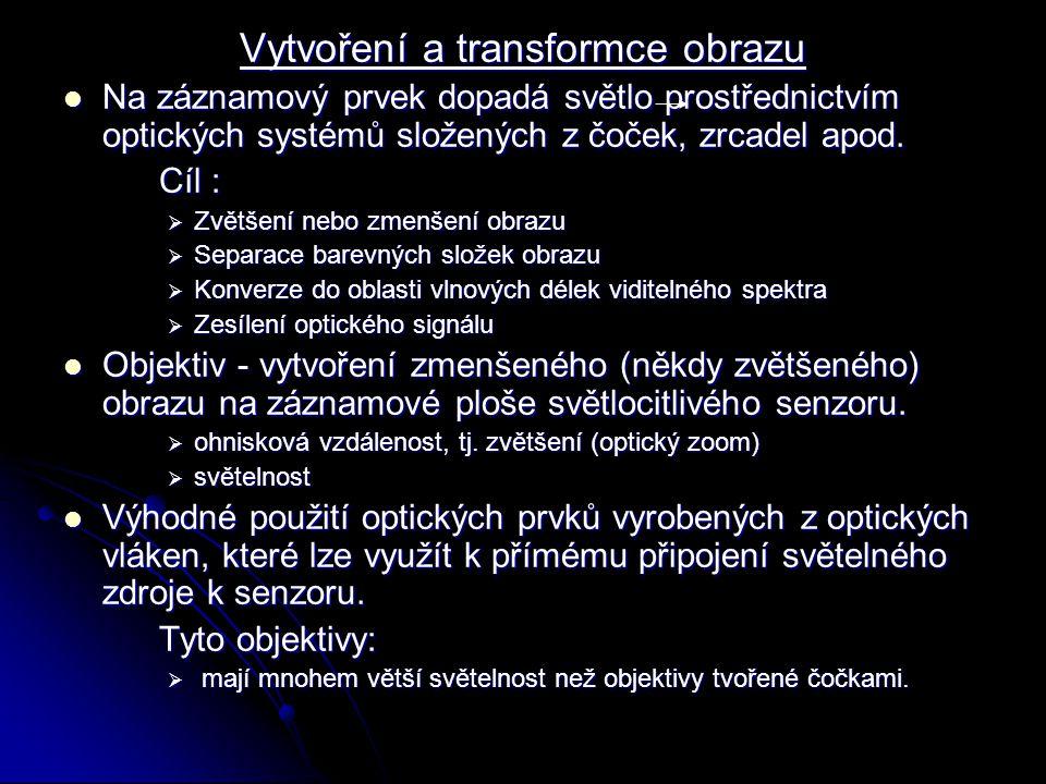 Vytvoření a transformce obrazu Na záznamový prvek dopadá světlo prostřednictvím optických systémů složených z čoček, zrcadel apod. Na záznamový prvek
