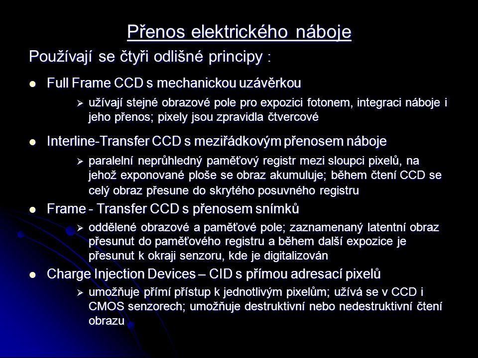 Přenos elektrického náboje Používají se čtyři odlišné principy : Full Frame CCD s mechanickou uzávěrkou Full Frame CCD s mechanickou uzávěrkou  užíva