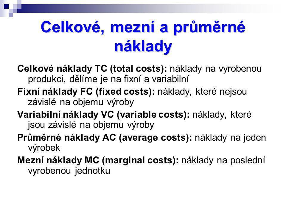 Celkové náklady TC (total costs): náklady na vyrobenou produkci, dělíme je na fixní a variabilní Fixní náklady FC (fixed costs): náklady, které nejsou