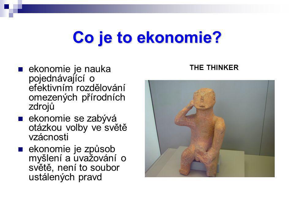 Co je to ekonomie? ekonomie je nauka pojednávající o efektivním rozdělování omezených přírodních zdrojů ekonomie se zabývá otázkou volby ve světě vzác