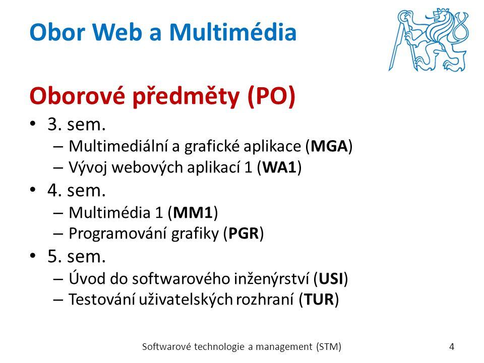 Oborové předměty (PO) 3. sem. – Multimediální a grafické aplikace (MGA) – Vývoj webových aplikací 1 (WA1) 4. sem. – Multimédia 1 (MM1) – Programování