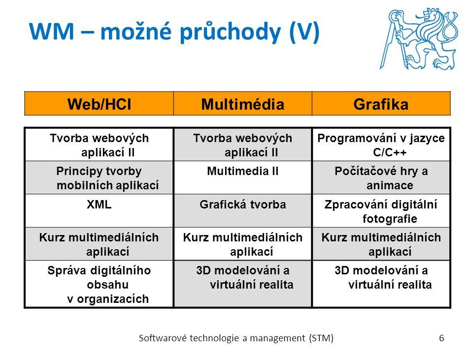 Softwarové technologie a management (STM)6 WM – možné průchody (V) Web/HCIMultimédiaGrafika Tvorba webových aplikací II Programování v jazyce C/C++ Pr