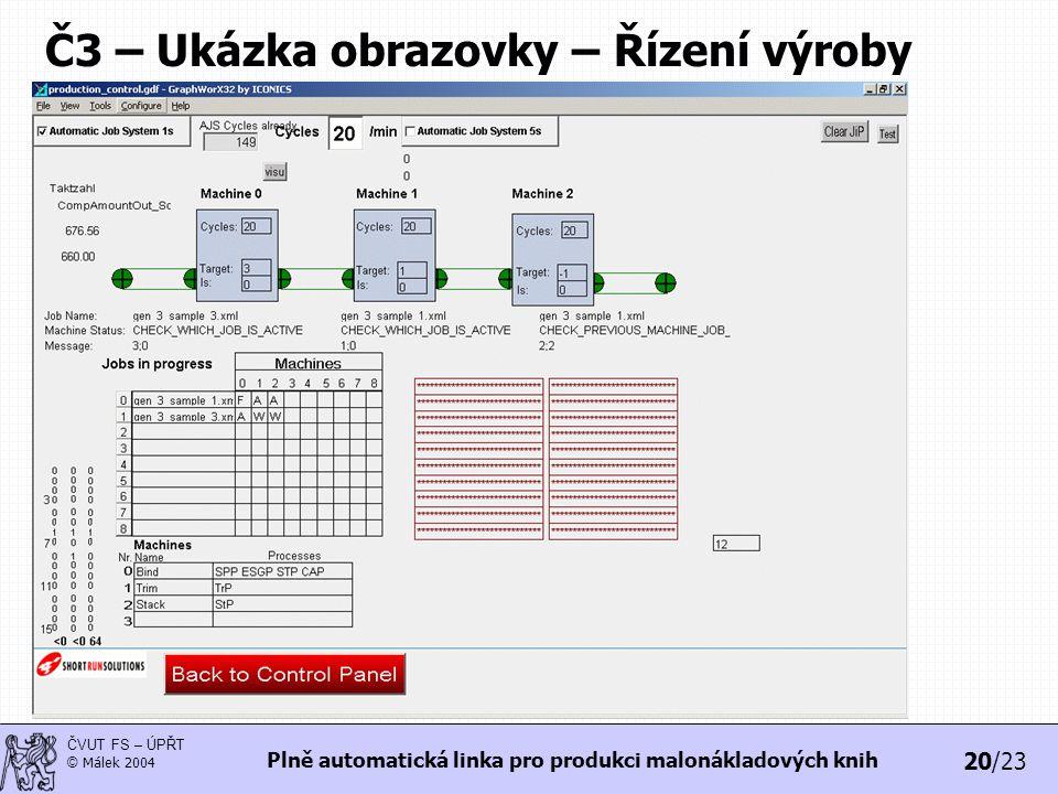 20/23 ČVUT FS – ÚPŘT © Málek 2004 Plně automatická linka pro produkci malonákladových knih Č3 – Ukázka obrazovky – Řízení výroby