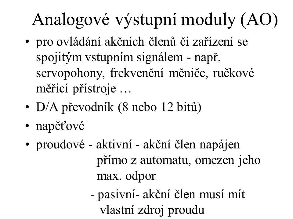 Analogové výstupní moduly (AO) pro ovládání akčních členů či zařízení se spojitým vstupním signálem - např. servopohony, frekvenční měniče, ručkové mě
