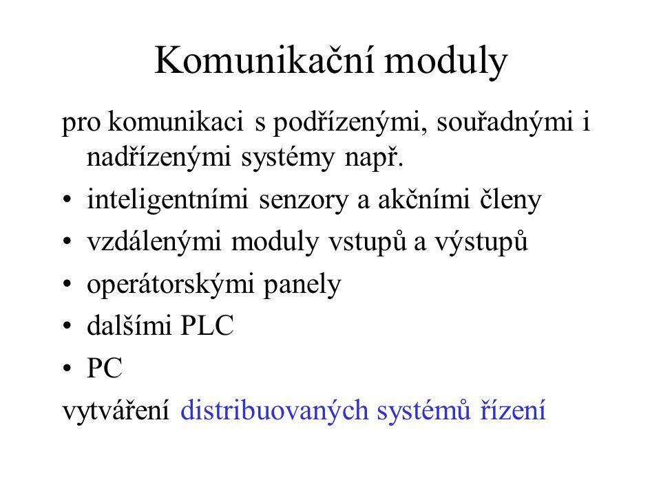 Komunikační moduly pro komunikaci s podřízenými, souřadnými i nadřízenými systémy např. inteligentními senzory a akčními členy vzdálenými moduly vstup