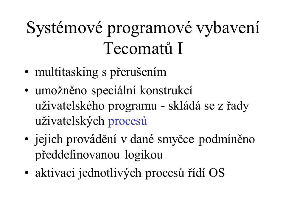 Systémové programové vybavení Tecomatů I multitasking s přerušením umožněno speciální konstrukcí uživatelského programu - skládá se z řady uživatelský