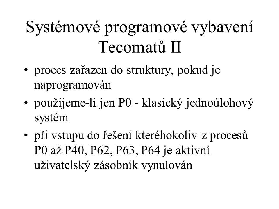 Systémové programové vybavení Tecomatů II proces zařazen do struktury, pokud je naprogramován použijeme-li jen P0 - klasický jednoúlohový systém při v