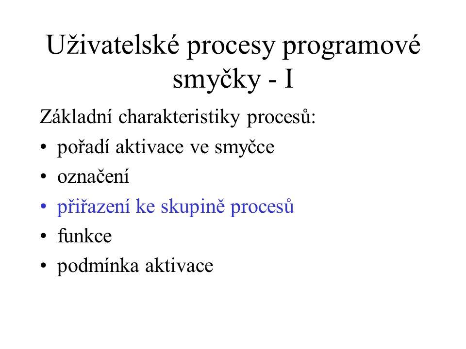 Uživatelské procesy programové smyčky - I Základní charakteristiky procesů: pořadí aktivace ve smyčce označení přiřazení ke skupině procesů funkce pod
