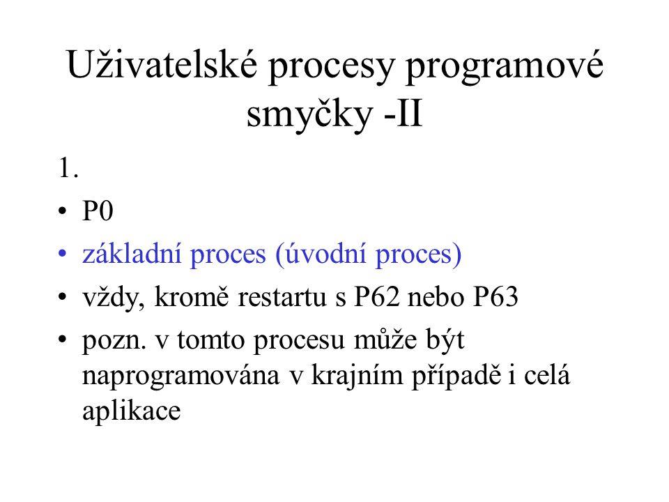 Uživatelské procesy programové smyčky -II 1. P0 základní proces (úvodní proces) vždy, kromě restartu s P62 nebo P63 pozn. v tomto procesu může být nap