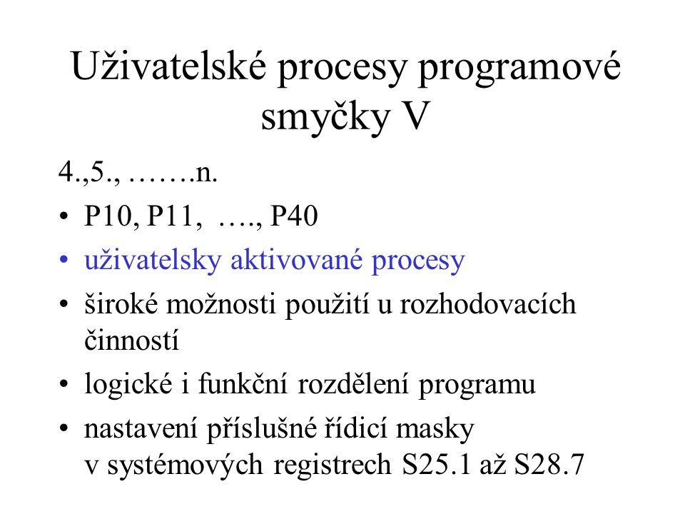 Uživatelské procesy programové smyčky V 4.,5., …….n. P10, P11, …., P40 uživatelsky aktivované procesy široké možnosti použití u rozhodovacích činností