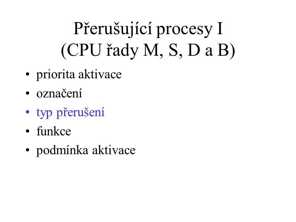 Přerušující procesy I (CPU řady M, S, D a B) priorita aktivace označení typ přerušení funkce podmínka aktivace