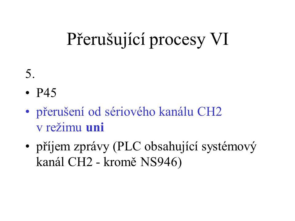 Přerušující procesy VI 5. P45 přerušení od sériového kanálu CH2 v režimu uni příjem zprávy (PLC obsahující systémový kanál CH2 - kromě NS946)