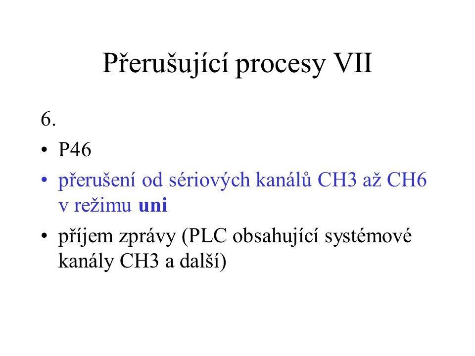 Přerušující procesy VII 6. P46 přerušení od sériových kanálů CH3 až CH6 v režimu uni příjem zprávy (PLC obsahující systémové kanály CH3 a další)