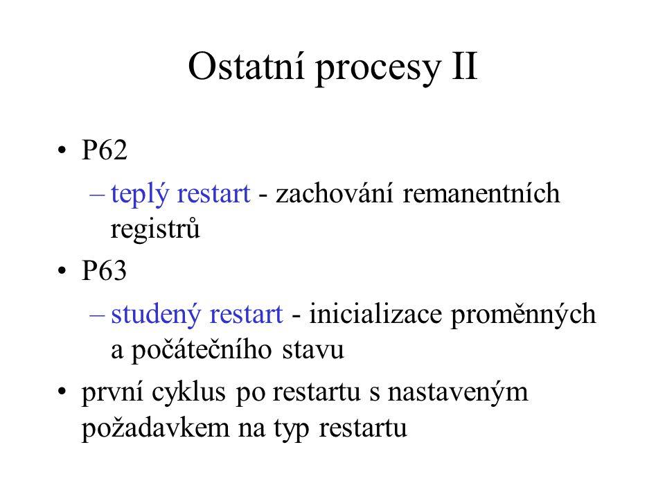 Ostatní procesy II P62 –teplý restart - zachování remanentních registrů P63 –studený restart - inicializace proměnných a počátečního stavu první cyklu