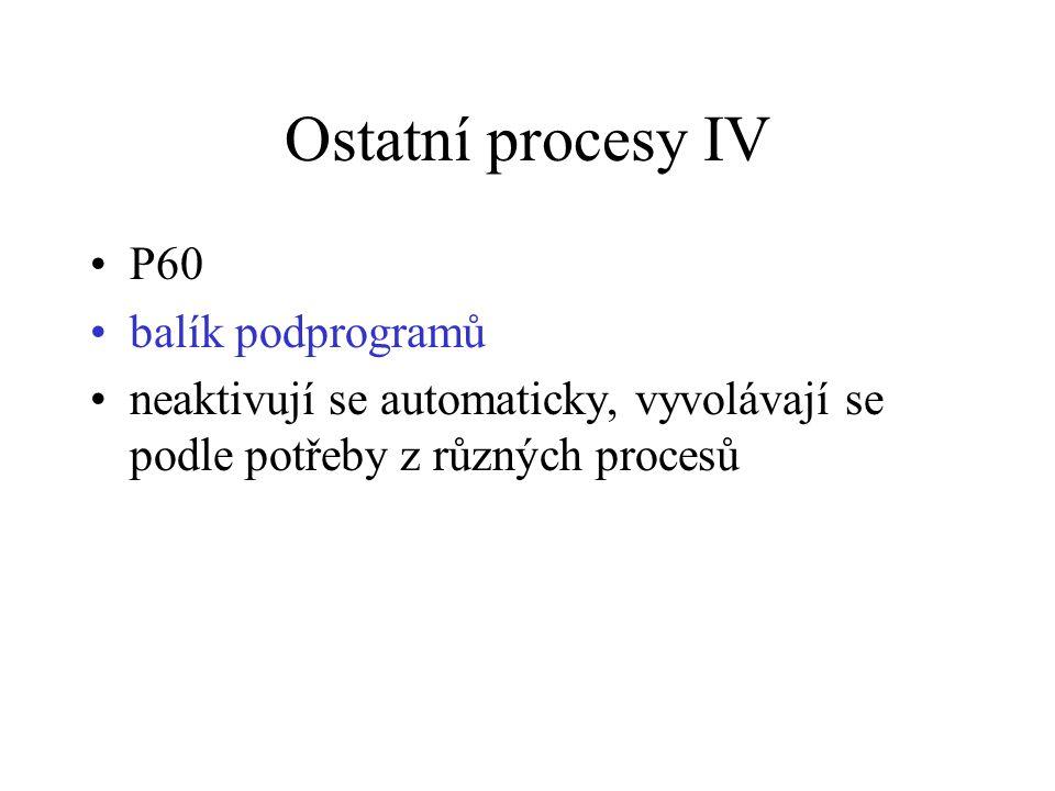 Ostatní procesy IV P60 balík podprogramů neaktivují se automaticky, vyvolávají se podle potřeby z různých procesů