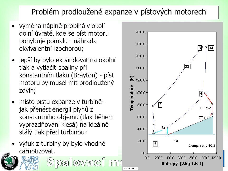 18 Problém prodloužené expanze v pístových motorech výměna náplně probíhá v okolí dolní úvratě, kde se píst motoru pohybuje pomalu - náhrada ekvivalentní izochorou; lepší by bylo expandovat na okolní tlak a vytlačit spaliny při konstantním tlaku (Brayton) - píst motoru by musel mít prodloužený zdvih; místo pístu expanze v turbině - jak přenést energii plynů z konstantního objemu (tlak během vyprazdňování klesá) na ideálně stálý tlak před turbinou.