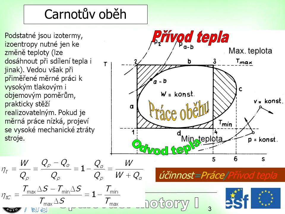 3 Carnotův oběh Podstatné jsou izotermy, izoentropy nutné jen ke změně teploty (lze dosáhnout při sdílení tepla i jinak). Vedou však při přiměřené měr