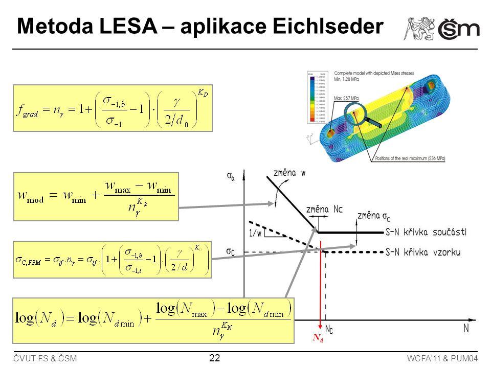 ČVUT FS & ČSMWCFA'11 & PUM04 22 NdNd Metoda LESA – aplikace Eichlseder
