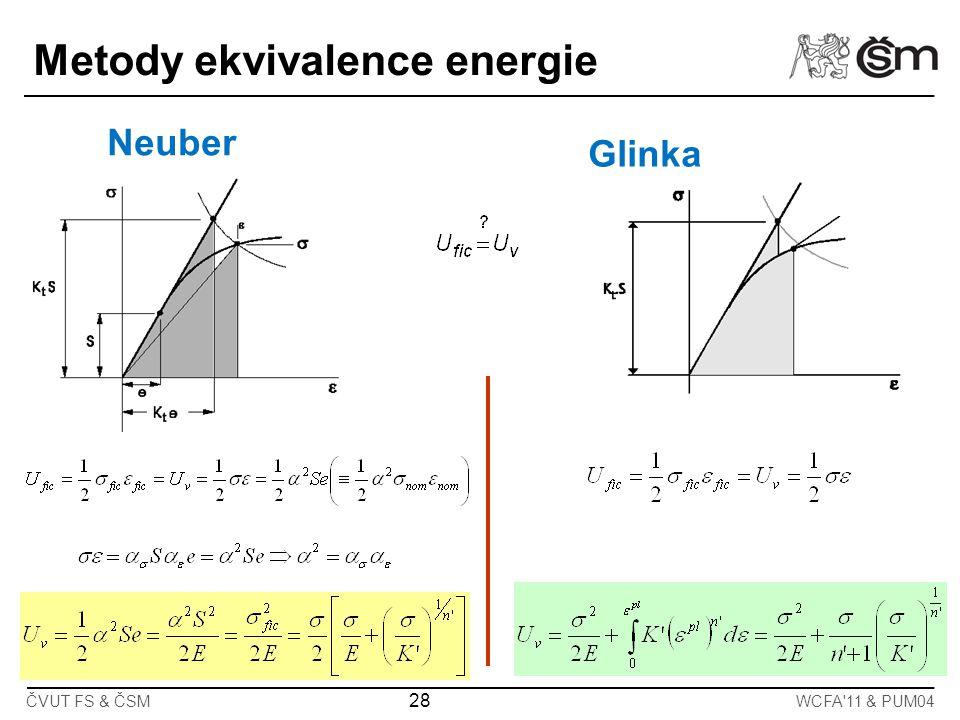 ČVUT FS & ČSM 28 WCFA'11 & PUM04 Neuber Glinka Metody ekvivalence energie