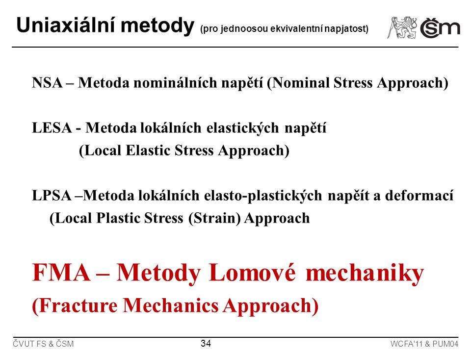 34 ČVUT FS & ČSMWCFA'11 & PUM04 Uniaxiální metody (pro jednoosou ekvivalentní napjatost) NSA – Metoda nominálních napětí (Nominal Stress Approach) LES