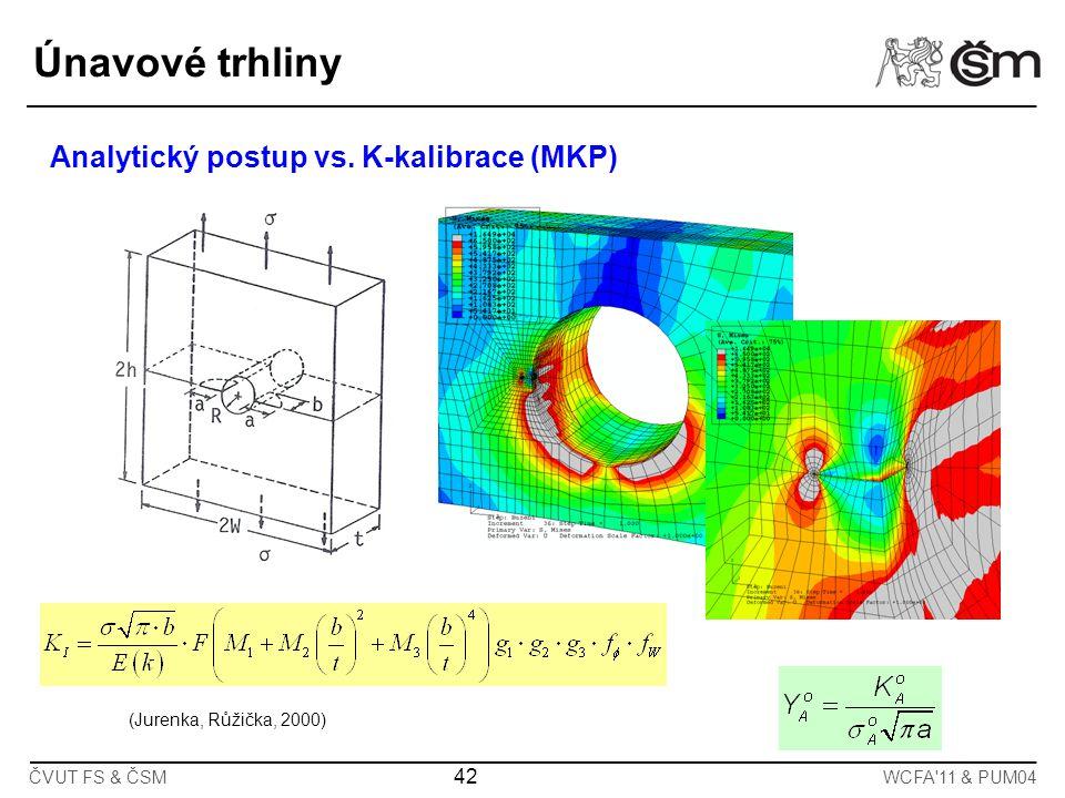 42 ČVUT FS & ČSMWCFA'11 & PUM04 Analytický postup vs. K-kalibrace (MKP) (Jurenka, Růžička, 2000) Únavové trhliny