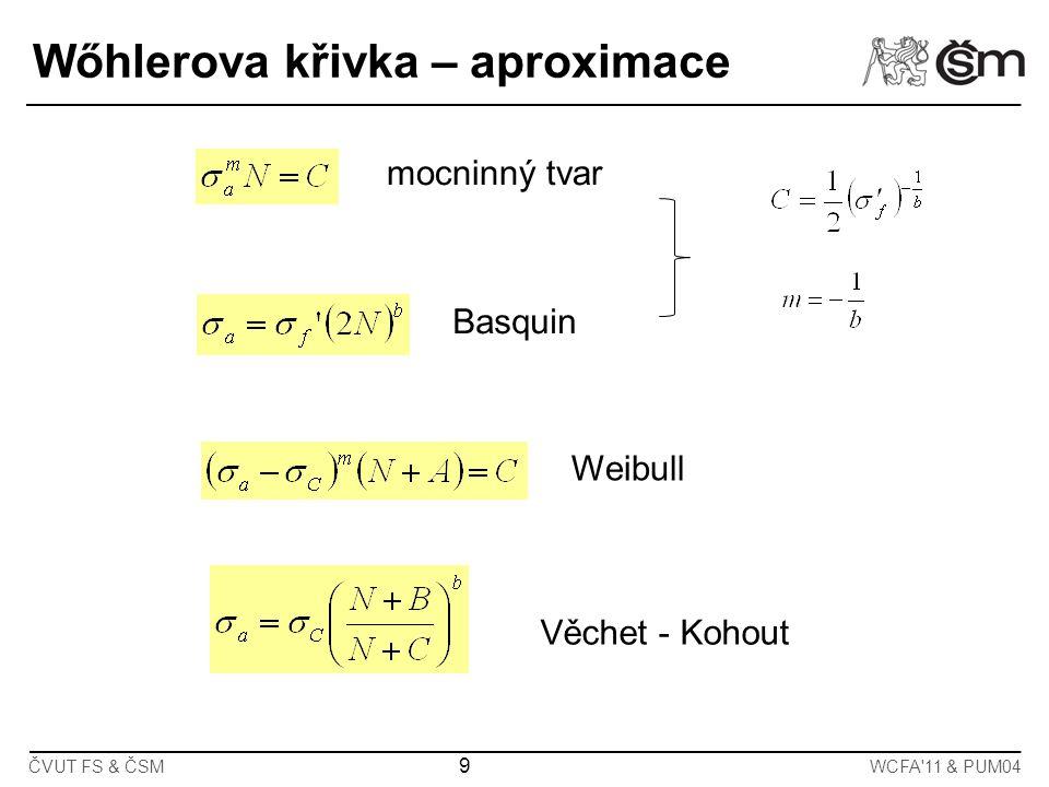 9 ČVUT FS & ČSMWCFA'11 & PUM04 Wőhlerova křivka – aproximace mocninný tvar Basquin Weibull Věchet - Kohout