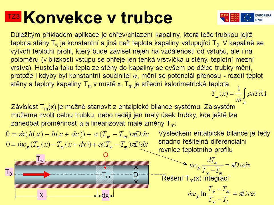Konvekce v trubce TZ3 Důležitým příkladem aplikace je ohřev/chlazení kapaliny, která teče trubkou jejíž teplota stěny T w je konstantní a jiná než teplota kapaliny vstupující T 0.