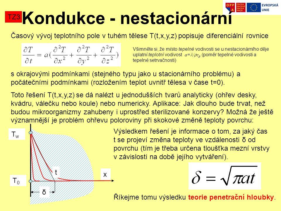 Časový vývoj teplotního pole v tuhém tělese T(t,x,y,z) popisuje diferenciální rovnice s okrajovými podmínkami (stejného typu jako u stacionárního problému) a počátečními podmínkami (rozložením teplot uvnitř tělesa v čase t=0).