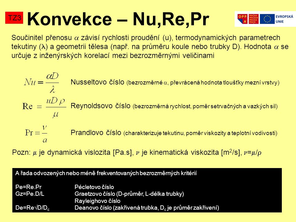 Konvekce – Nu,Re,Pr TZ3 Součinitel přenosu  závisí rychlosti proudění (u), termodynamických parametrech tekutiny ( ) a geometrii tělesa (např.
