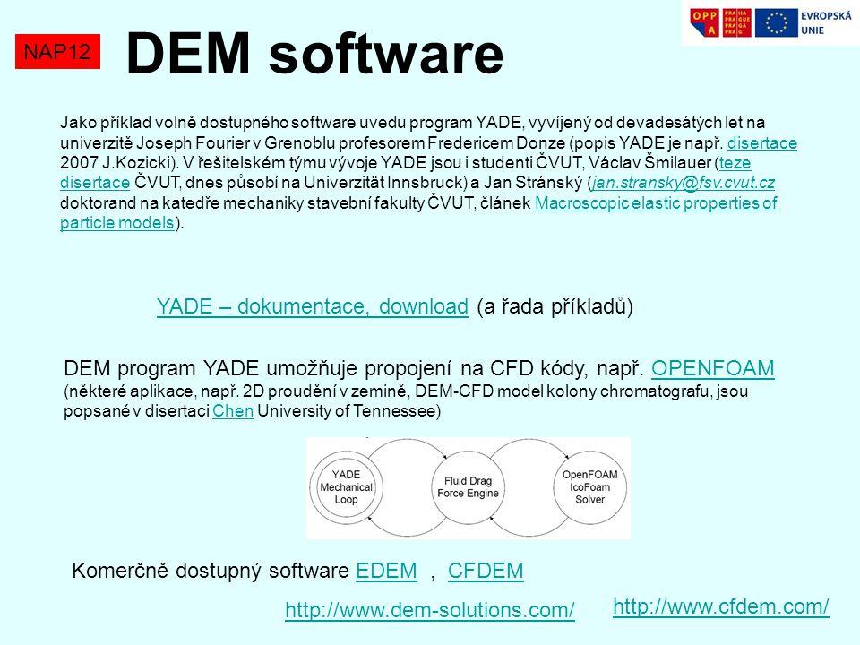 NAP12 DEM software Jako příklad volně dostupného software uvedu program YADE, vyvíjený od devadesátých let na univerzitě Joseph Fourier v Grenoblu profesorem Fredericem Donze (popis YADE je např.