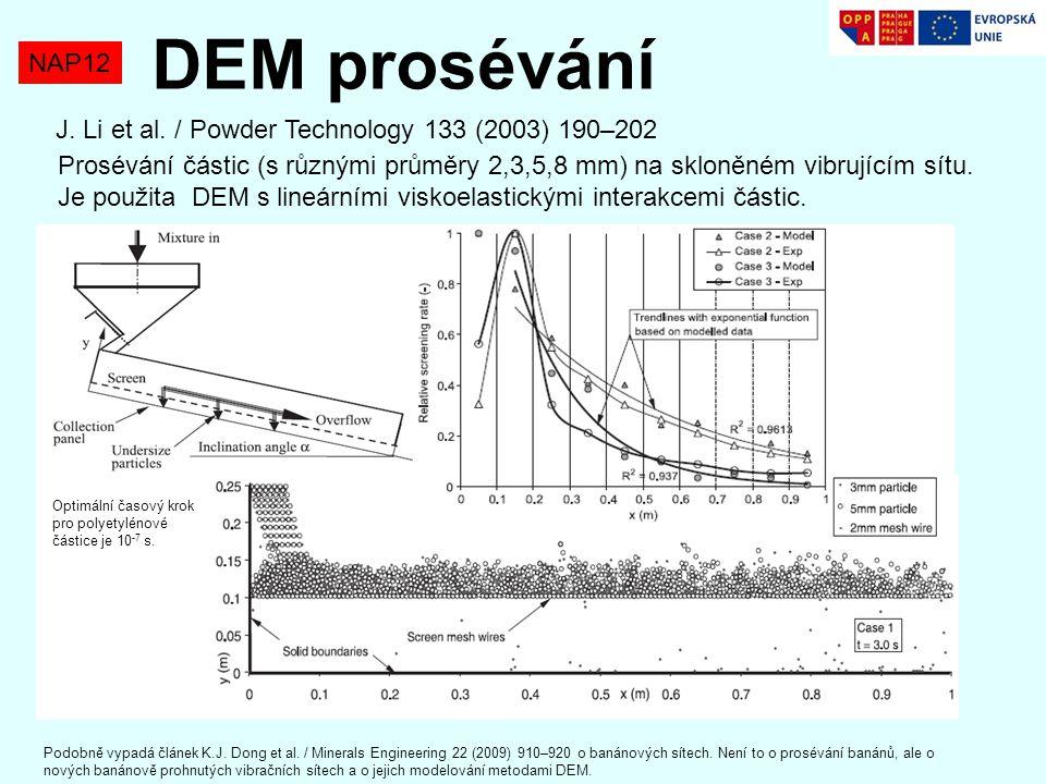 NAP12 DEM prosévání J. Li et al. / Powder Technology 133 (2003) 190–202 Prosévání částic (s různými průměry 2,3,5,8 mm) na skloněném vibrujícím sítu.