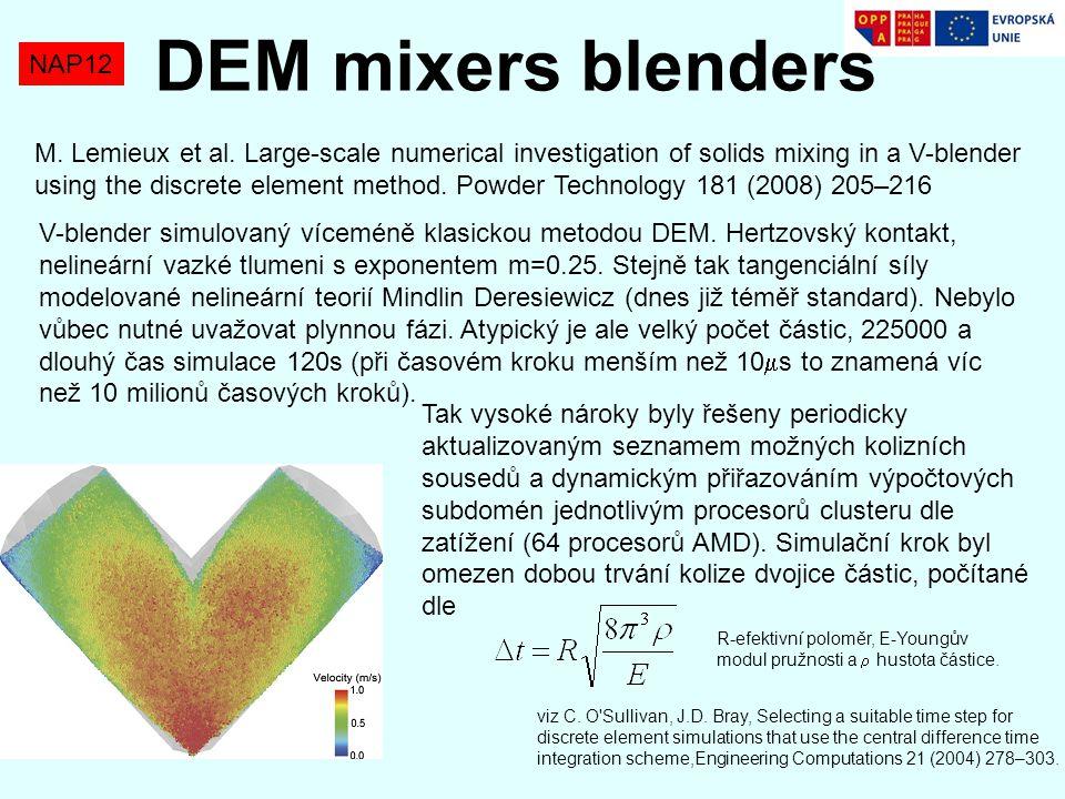 NAP12 DEM mixers blenders M. Lemieux et al. Large-scale numerical investigation of solids mixing in a V-blender using the discrete element method. Pow