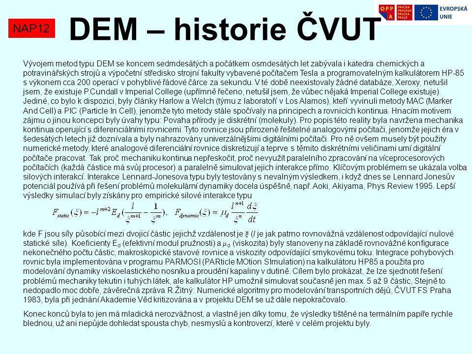 NAP12 DEM – historie ČVUT Vývojem metod typu DEM se koncem sedmdesátých a počátkem osmdesátých let zabývala i katedra chemických a potravinářských str
