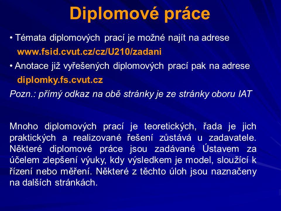 Diplomové práce Témata diplomových prací je možné najít na adrese www.fsid.cvut.cz/cz/U210/zadani Anotace již vyřešených diplomových prací pak na adre