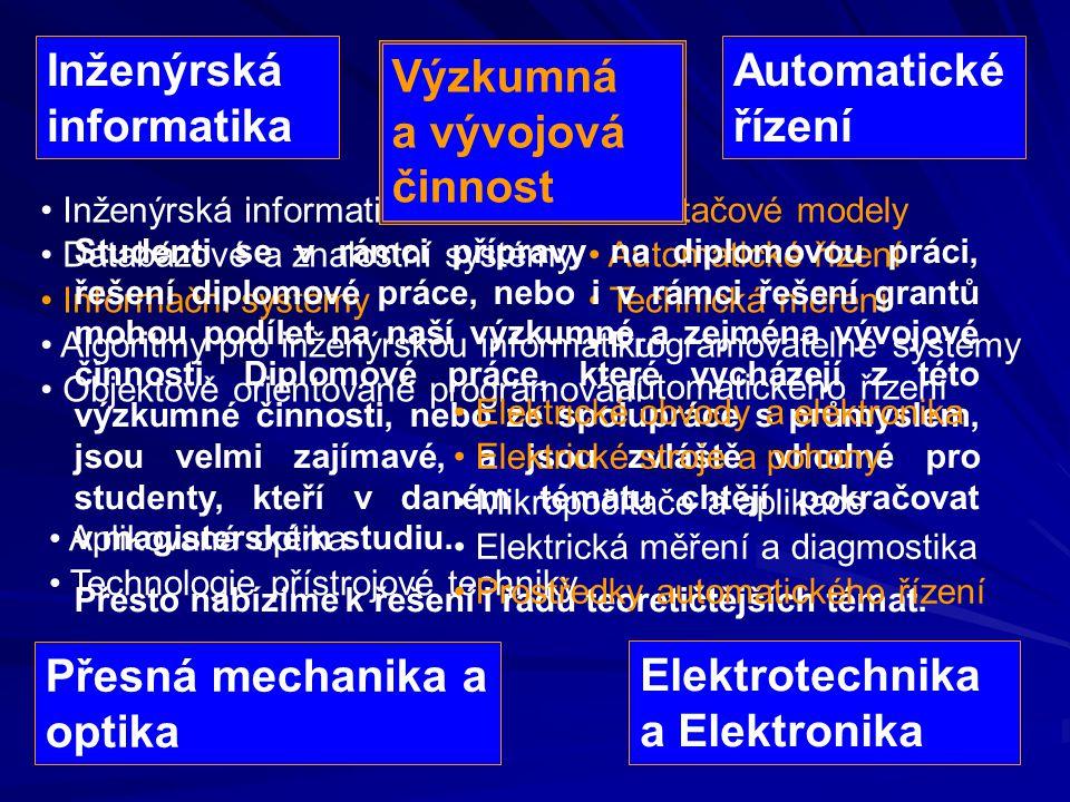 Inženýrská informatika Databázové a znalostní systémy Informační systémy Algoritmy pro inženýrskou informatiku Objektově orientované programování Počí