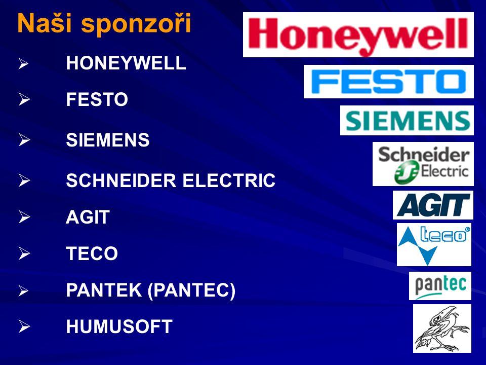  HONEYWELL Naši sponzoři  FESTO  HUMUSOFT  SCHNEIDER ELECTRIC  SIEMENS  AGIT  PANTEK (PANTEC)  TECO
