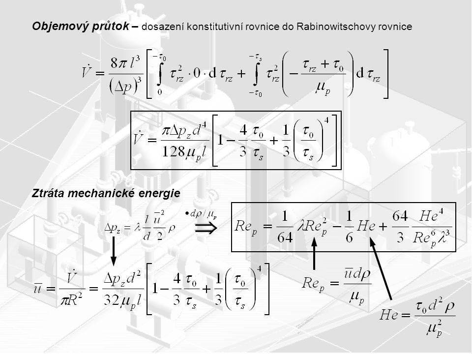 Objemový průtok – dosazení konstitutivní rovnice do Rabinowitschovy rovnice Ztráta mechanické energie 