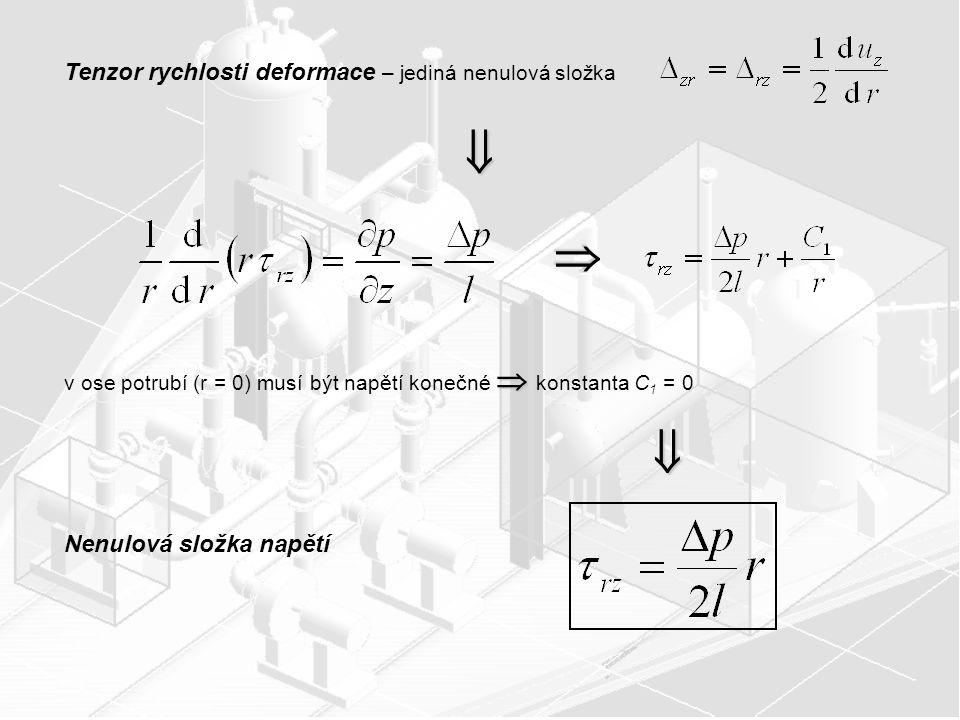 Tenzor rychlosti deformace – jediná nenulová složka    v ose potrubí (r = 0) musí být napětí konečné  konstanta C 1 = 0  Nenulová složka napětí