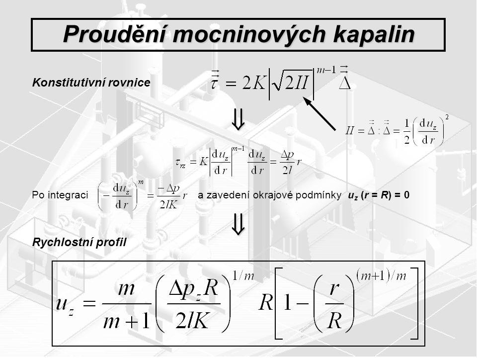 Proudění mocninových kapalin Konstitutivní rovnice  Po integraci a zavedení okrajové podmínky u z (r = R) = 0  Rychlostní profil